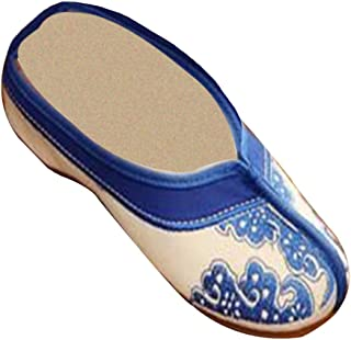 Inlefen Female Embroidered Classic Chinese Style Pattern Solid Color Slippers