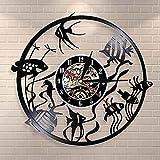 yltian Diseño Moderno Disco de Vinilo Reloj de Pared Goldfish Wall Art Reloj de Pared Simple decoración del hogar habitación de los niños decoración del Acuario Reloj de Pared