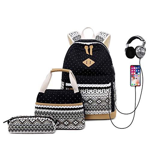 Neuleben 3 Set Schulrucksack & Kühltasche & Federmäppchen Canvas Rucksack Schulranzen mit USB Ladeanschluss für Jungen Mädchen (Schwarz)