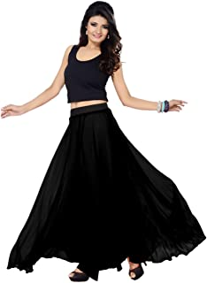 Women's Faux Georgette Regular Fit Plain Skirt (SGLS40_0001)