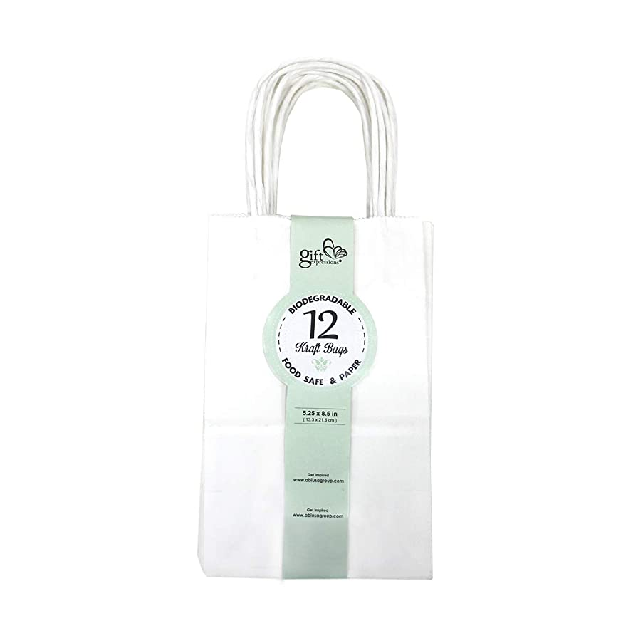 12CT SMALL WHITE BIODEGRADABLE PAPER, PREMIUM QUALITY PAPER (STURDY & THICKER), KRAFT BAG WITH COLORED STURDY HANDLE