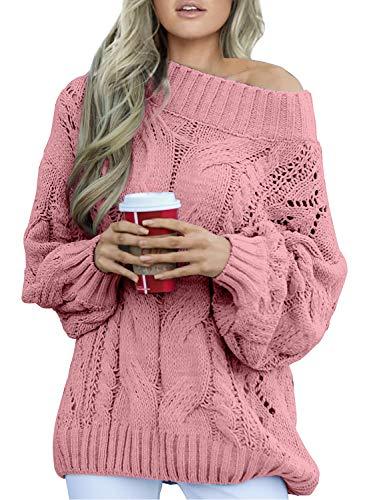 Aleumdr Strickpullover Damen Oversize Pullover Grobstrick Winterpullover Strickpulli Sweater lässig Outwear Casual elegant einfarbig S-XXL, Rosa, Medium(EU38-EU40)
