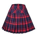 Urban GoCo Mujeres Falda Escocesa Plisada con Cintura Elástica Escuela Uniforme Falda Cuadros (2XL, 1 Rojo)
