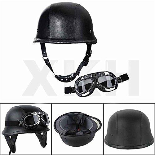 XKH- DOT German Black Leather Motorcycle Half Face Helmet Biker Pilot Goggles M [B07FN7ZRL2]