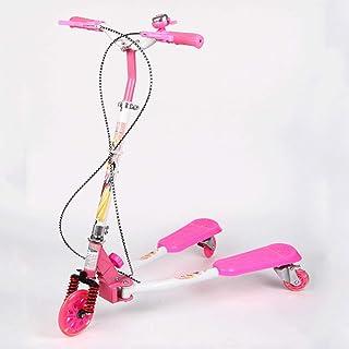 KOBOOW Patinete Doble Slider Fliker Scooter de 3 Ruedas Plegable Scooter de Oscilación de Reductor para Niños 3-10 Años con Freno Manillar Ajustable Carga 50kg Marco (Color : Pink)