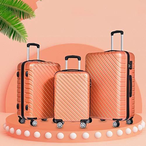 LLKK - Set di 3 valigie da viaggio da 50 cm, 24 cm, 28 cm, trolley portatile, in ABS con ruote girevoli, borsa da viaggio antigraffio