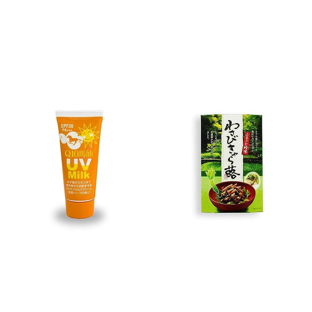 [2点セット] 炭黒泉 Q10馬油 UVサンミルク[天然ハーブ](40g)?わさびきゃら蕗(180g)