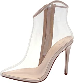 Womens High Heel Pointy Toe Clear Perspex Heel Ankle Boot Bootie Shoe - Giselle-39