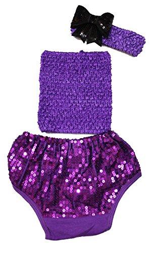 Grape Violet Tube Top à paillettes Coton bloomer Pantalon Ensemble Vêtements bébé Lot de 3–12 m - Violet -