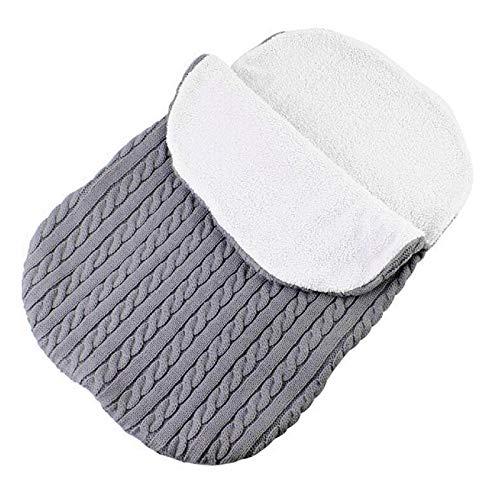 Wallfire Dickes Baby Swaddle Wrap Stricken weiche warme Fleecefutter Schlafsack Windeln Decke Kinderwagen Schlaf Sack (Color : Grey)