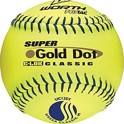 "Worth 12"" PROTAC Gold Dot / Classic M USSSA Slowpitch Softball, Box of 12"