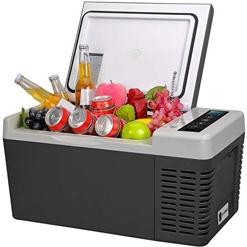 F40C4TMP Portable Refrigerator 20 Quart 12 Volt Freezer (-7.6℉~50℉) Car Fridge With Compressor 110-240V AC For Camping, Truck, RV, Travel, Boat and Home Use