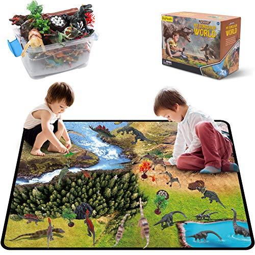 DigHealth 33 Pcs Dinosaurier Spielzeug Set, Figur Dinosaurier mit Aktivität Spielmatten und Bäume, Einschließlich T-Rex,Triceratops,Pterosauria für Jungen und Mädchen