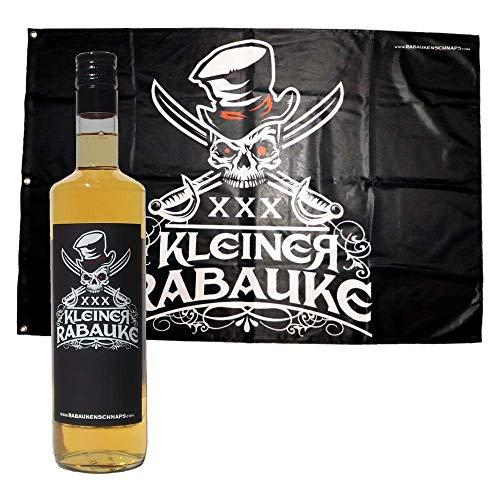 1 Flasche Kleiner Rabauke Likör 0,7l & Kleiner Rabauke Fahne | Totenkopf Flagge 100 x 150 cm | XXX