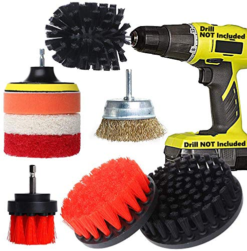Electric Drill Brush Attachment Set - 9 Pieces Power Scrubber with Wire Cup Brush/Soft Brushes/Stiff Brushes/polishing Sponge/Velcro Connector/Scrub Pads - Cleaning Tile,Rust,Kitchen,Bathroom