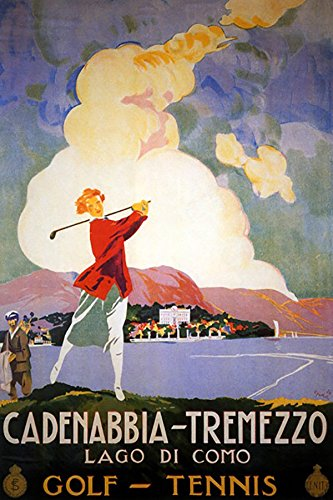 "GIRL PLAYING GOLF SPORT CADENABBIA TREMEZZO LAGO LAKE DI COMO ITALY ITALIA 12"" X 16"" VINTAGE POSTER REPRO"
