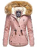 Navahoo warme Damen Designer Winter Jacke Winterjacke mit Kapuze und Teddyfell B643 (Gr. S/Gr. 36, Rosa)
