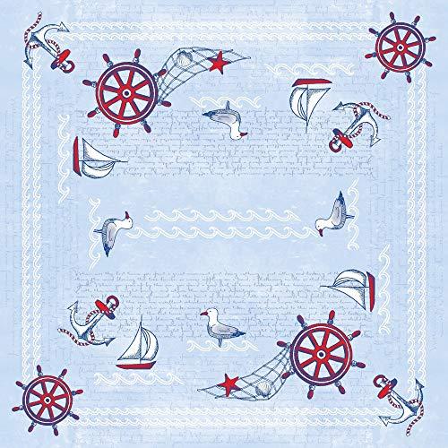 Vlag HORECA tafelkleed zeebries in blauw van Linclass® Airlaid 80 x 80 cm, 20 stuks Martitim