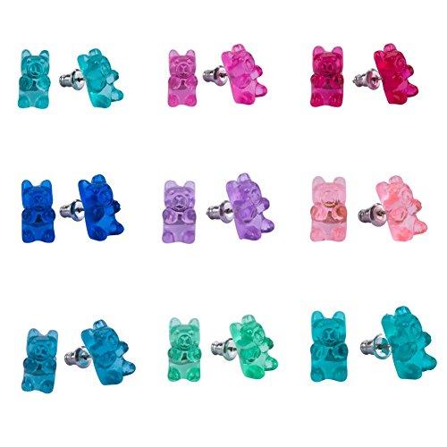 Earrings Set for Little Girls, Handmade Colorful Gummy Bear Stud Earrings for Kids Children Jewelry Set Of 9