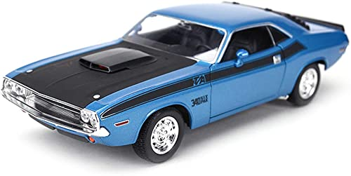 calidad fantástica FDHLTR Modelo de Coche Coche Coche Retro 1970 Dodge Challenger 1 24 simulación de aleación de fundición de Juguete Modelo de Coche Coche Regaños de los Niños Modelo de Auto (Color   azul)  diseño simple y generoso