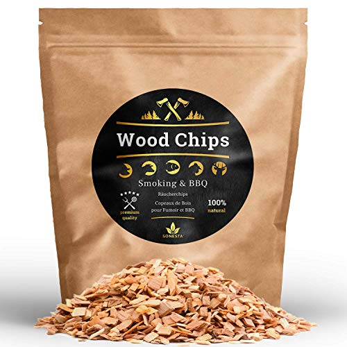 1 kg premium smoking chips BBQ and smoking, 100% naturally very smoked wood chips / wood chips / accessories for any grill and smoker such as Weber Napoleon Smoker Barbecook Kamado Dancook
