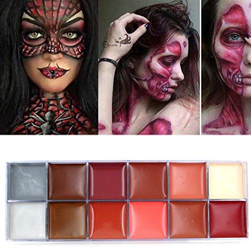 ELEVEN EVER La pintura corporal Flash tattoo 12 colores pintura de la cara de paleta de maquillaje de Halloween brillante pintura hacer tatuajes temporalis(2)