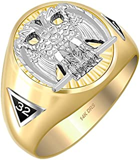 US Jewels And Gems Customizable Men's Two Tone 14k Gold Scottish Rite Freemason Masonic Ring, Sizes 8 to 14