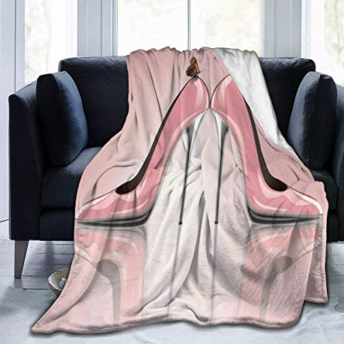 Rozenschoenen, hoge hakken, vlinder, flanel, deken van molton, zeer zacht, comfortabel, warm, licht, deken van microfleece, deken voor thuis