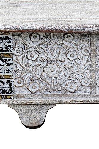 Orientalische Truhe Kiste aus Holz Daher 116cm White Wash | Vintage Sitzbank mit Aufbewahrung für den Flur | Aufbewahrungsbox mit Deckel im Bad | Betttruhe als Kissenbox oder Deko im Schlafzimmer - 4