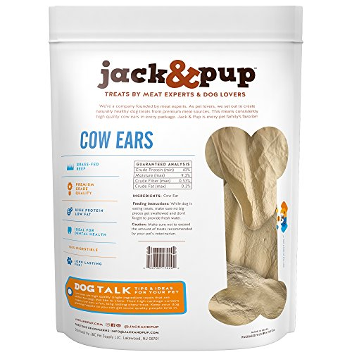 Jack&Pup Prime Tender & Hearty Thick Cow Ears Odor Free Dog Treats, (15 Pack) – Premium Grade Long Lasting All Natural and Unflavored Gourmet Dog Treat Chews – Fresh & Tasty Low-Calorie Treat