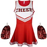 Disfraz de animadora, disfraz de High School Musical, con pompones, Women's, color rosso, tamaño Medium
