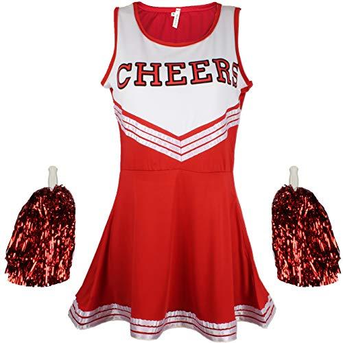 Disfraz de animadora, disfraz de High School Musical, con pompones, Women's, color rosso, tamaño Small