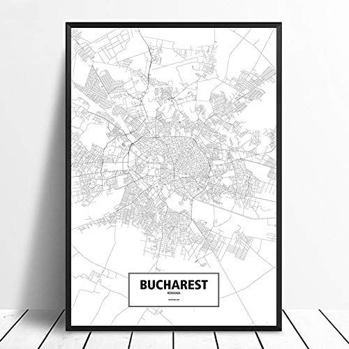 Painting Prints On Canvas City Poster Bucharest Romania Black White Custom World City Map Poster Canvas Print Nordic Picture Artwork For Bedroom Living Room Bathroom Home Office 23.62×31.5In(60×80Cm