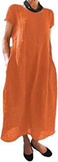 MogogoWomen Solid Plus-Size Baggy Linen Chinese Short-Sleeve Long Maxi Dress