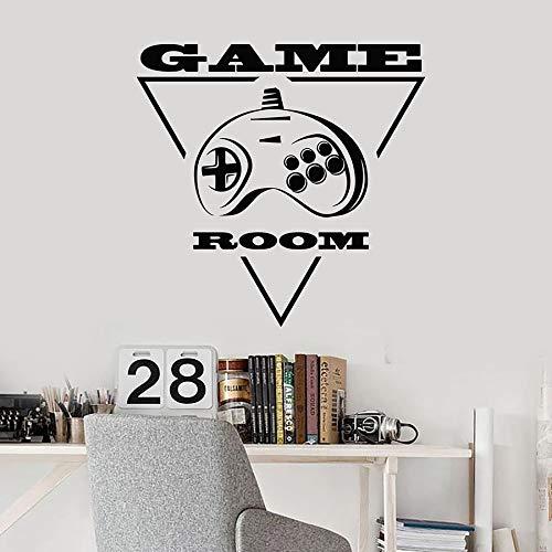 SUPWALS Pegatinas de pared Gamer Wall Decal Joystick Videojuegos Consola Geométrica Sala De Juegos Niños Niños Dormitorio Sala De Juegos Decoración Para El Hogar Vinilo Adhesivo Mural 57X58Cm