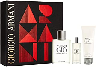 Armani Acqua Di Gio for Men 3 Piece Gift Set, 6.4 Ounce (3.4 Eau De Toilette Spray + 2.5 All Over Body Shampoo + 0.5 Eau De Toilette Spray)