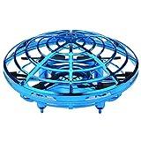ZKO UFO Drone, Interactive Infrarouge Induction Hélicoptère avec Micro Drone capteurs Rotatif à 360 ° en Brillant Lampes LED, télécommande Flying Jouets pour Filles et garçons (Bleu)