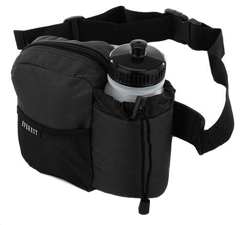 EVEREST BH-14NB Insulated Water Bottle Waist Hip Fanny Pack Bag Black + Bottle