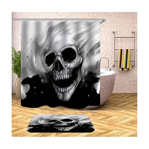 Daesar Badezimmerteppich Toilette 40x60 Totenkopf Badvorhang Duschvorhang 150x180 cm, Badematten Set