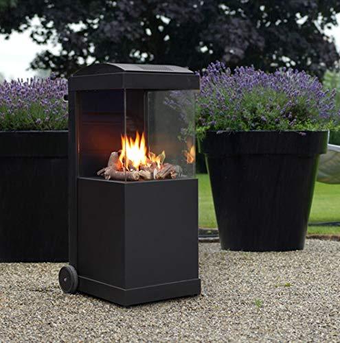 FABER Gartenkamin theBUZZ in Schwarz mit Rädern, Outdoor-Kamin inkl. Anschlussmaterial und Schutzhülle, Außenkamin aus Stahl