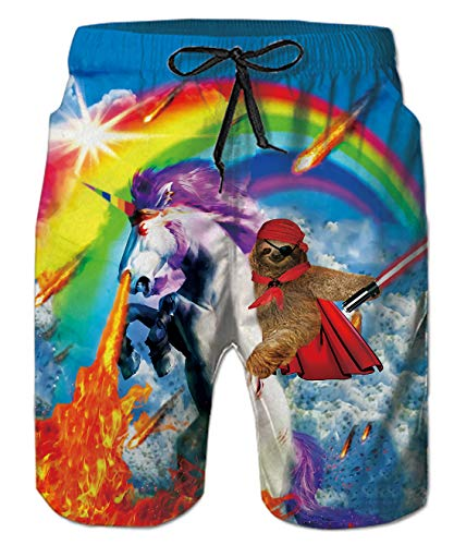 uideazone Men Casual Swim Trunks Funny Rainbow Unicorn Sloth Printed Surfing Board Beach Shorts