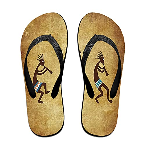 Sandales unisexes minces à bascule,Motif ethnique Kokopelli amérindien du, Tapis de yoga Flip Flops plage confortable bracelet en cuir avec légère en EVA Sole Taille M