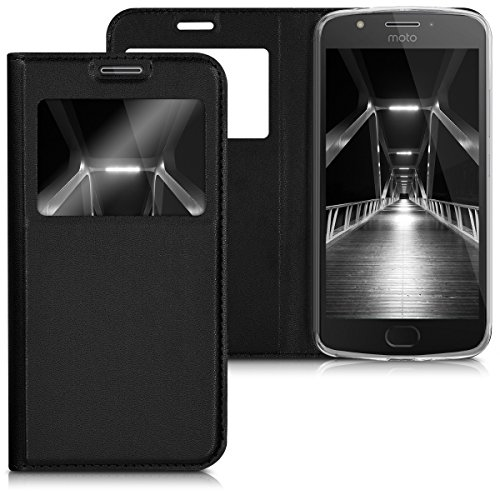 kwmobile Hülle kompatibel mit Motorola Moto E4 - Handyhülle Handy Hülle Schutzhülle Klapphülle in Schwarz