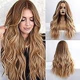 HAIRCUBE longue perruque brune bouclée moyenne séparation perruques femmes 24 pouces perruques pour femmes aspect naturel perruques synthétiques