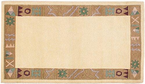Teppich Tibeter Modern ca. 95 x 160 cm Creme handgeknüpft Schurwolle Modern hochwertiger Teppich