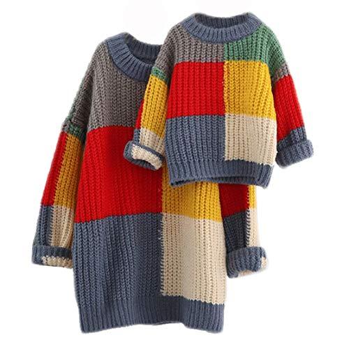 Madre e Hija Jersey Invierno Mamá y Yo Familia Ropa Mama e Hija Bebe Iguales Jerséis para Mujer Niña Pullover/100 cm