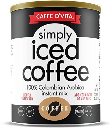 Caffe D'Vita Simply Iced Coffee, 100% Colombian Arabica Instant Mix, 2.5 lb Can