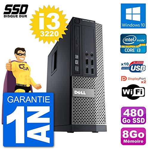 Dell Optiplex 7010 SFF - Ordenador de sobremesa (procesador Intel Core i3-3220, memoria RAM de 8 GB, SSD 480Go, Windows 10 Wi-Fi)