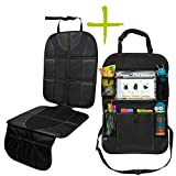 """Car Seat Protector and Organizer Set – Kick Mat – Multi Pocket Organizer – 10"""" Android or iPad Tablet Pouch – Easy to Install & Clean – Strong & Resilient – Non Slip Back"""