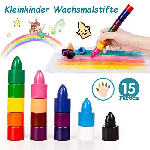WONDERFORU Kleinkinder Wachsmalstifte 15 Farben ungiftig wachsmalkreide, Sichere Handflächengriff Buntstifte Farbstifte Stapelbares Spielzeug für Babys, Kleinkinder und Kinder